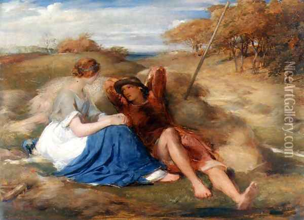 The Lover's (or The Harvesters') Oil Painting - George Richmond