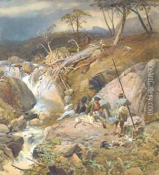 A Highland burn with an angler conversing with two gillies other sportsmen can be seen approaching from the distance Oil Painting - Thomas Miles Richardson, Jnr.