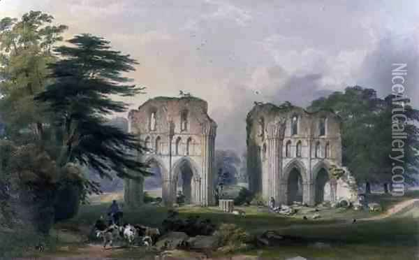 Roche Abbey, view from the West, from The Monastic Ruins of Yorkshire, engraved by George Hawkins 1819-52, 1842 Oil Painting - William Richardson
