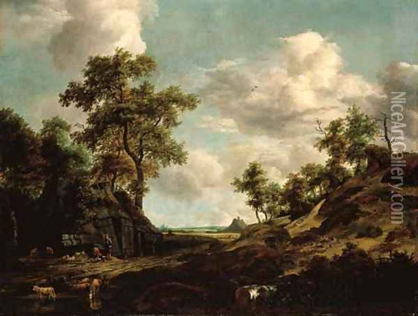 An extensive wooded landscape with a shepherd and his flock by an old barn Oil Painting - (follower of) Ruisdael, Jacob I. van