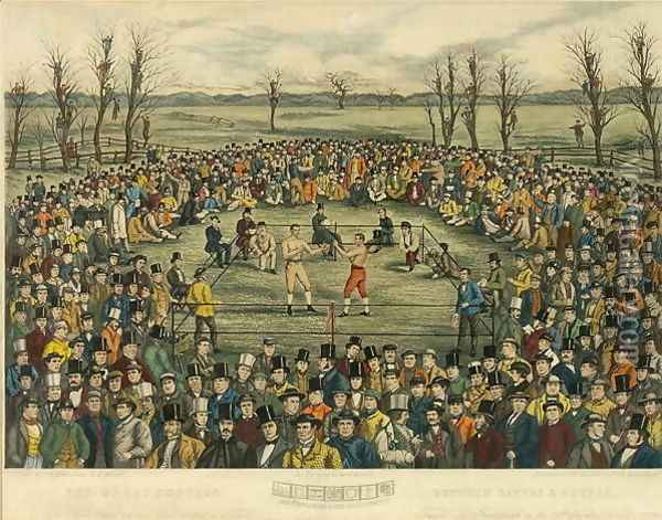 The Great Contest between Sayers and Heenan for 200 Pounds a side, engraved by J. R. Mackrell and J.B. Rowbotham Oil Painting - Rowbotham, J.B. & Brown, J.