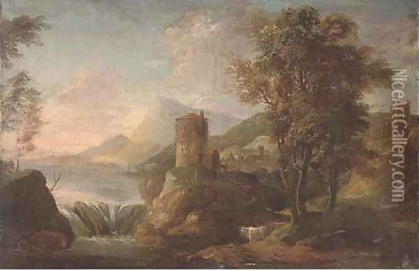 A landscape with figures under a tower by a waterfall Oil Painting - Sebastiano Ricci