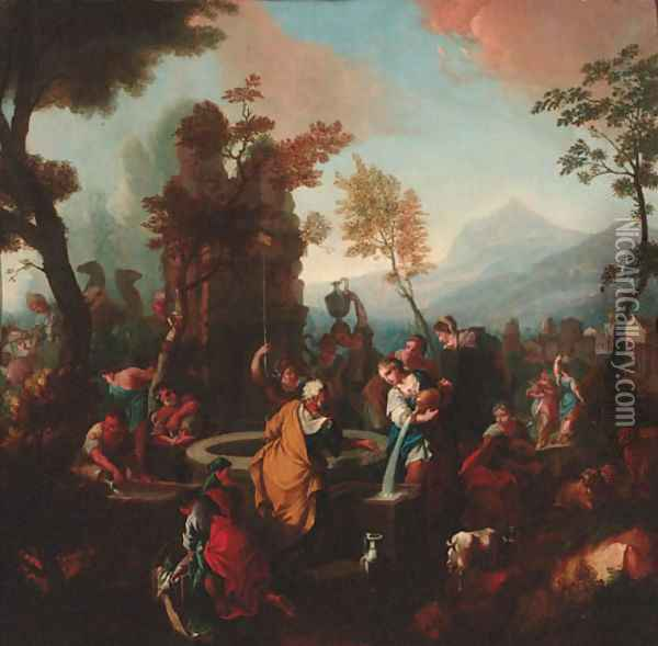 Rebecca and Eliezer at the Well Oil Painting - Sebastiano Ricci
