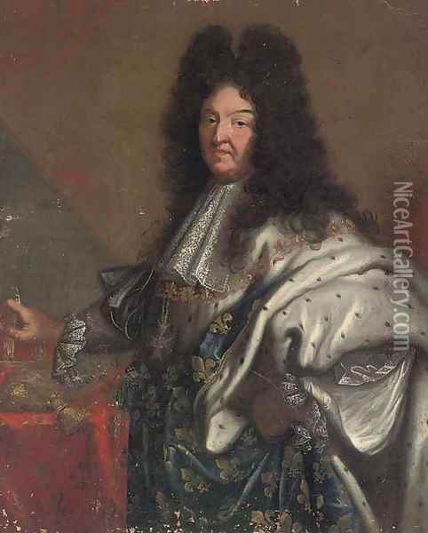 Portrait of King Louis XIV of France, three-quarter-length Oil Painting - Hyacinthe Rigaud