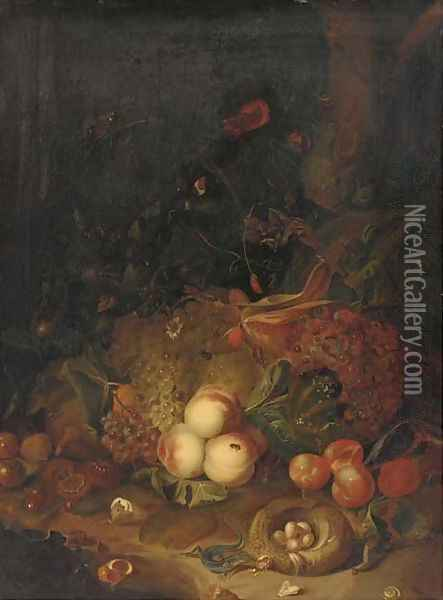 Apples, pears, grapes, corn, pomegranates, a birds nest with eggs with butterflies, a lizard and other insects in a wooded clearing Oil Painting - Rachel Ruysch