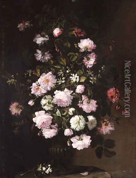 Roses and orange blossom in a vase on a pedestal Oil Painting - Rachel Ruysch