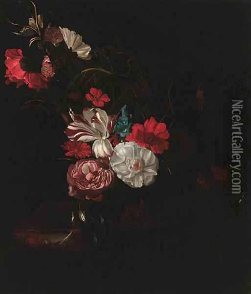 Roses, tulips, a poppy, nasturtiums, marigolds and other flowers in a vase, and a tortoiseshell butterfly on a partly draped marble ledge Oil Painting - Rachel Ruysch