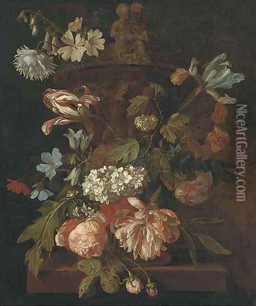 Roses, a parrot tulip, morning glory, narcissi and other flowers, with a snail, around a stone urn on a ledge Oil Painting - Rachel Ruysch