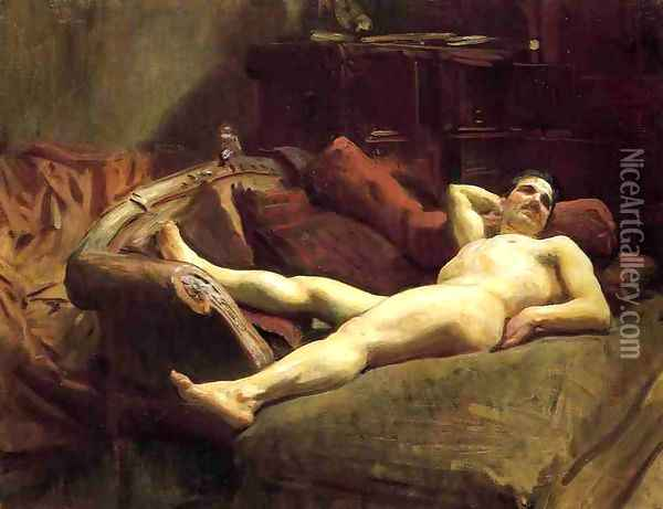 Male Model Resting Oil Painting - John Singer Sargent