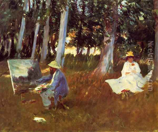 Claude Monet Painting by the Edge of a Wood Oil Painting - John Singer Sargent