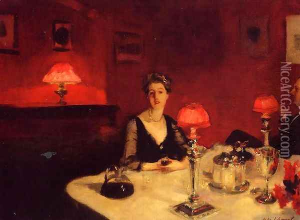 A Dinner Table At Night Oil Painting - John Singer Sargent