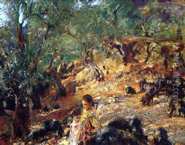 Ilex Wood At Majorca With Blue Pigs Oil Painting - John Singer Sargent