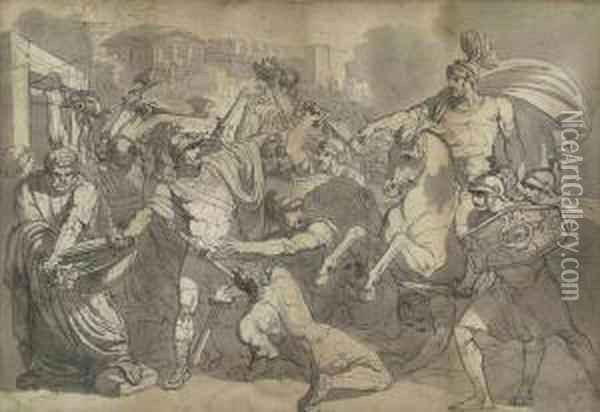 Marcus Furius Camillus Liberating Rome From The Gauls Oil Painting - Bartolomeo Pinelli