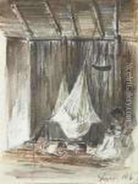 The Interior Of A Hut With A  Hammock And An Indian Mother With Hertwo Children, Galipan (recto); Palm  Trees (verso) Oil Painting - Camille Pissarro