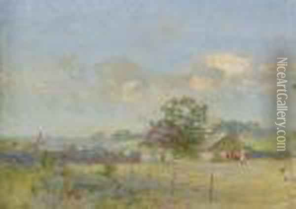 A Summer Landscape With Cows Oil Painting - Ivan Pavlovich Pokhitonov