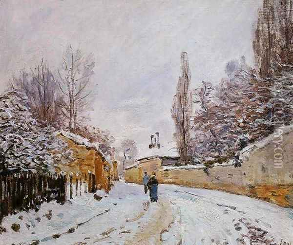 Road under Snow, near Louveciennes, 1876 Oil Painting - Alfred Sisley