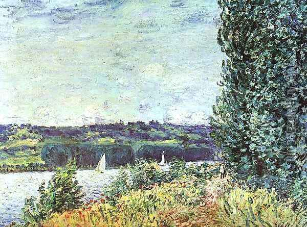 Banks of the Seine, Wind Blowing Oil Painting - Alfred Sisley