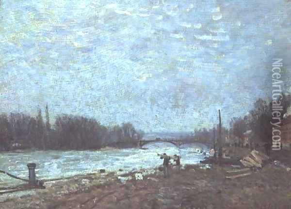 After the Thaw, the Seine at Suresnes Bridge, 1880 Oil Painting - Alfred Sisley