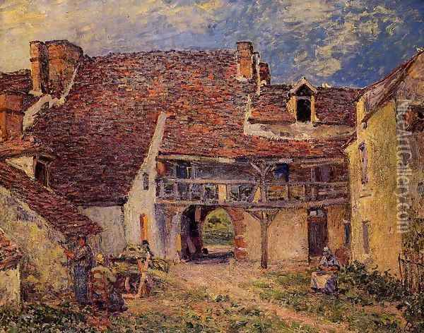 Courtyard Of Farm At St Mammes Oil Painting - Alfred Sisley
