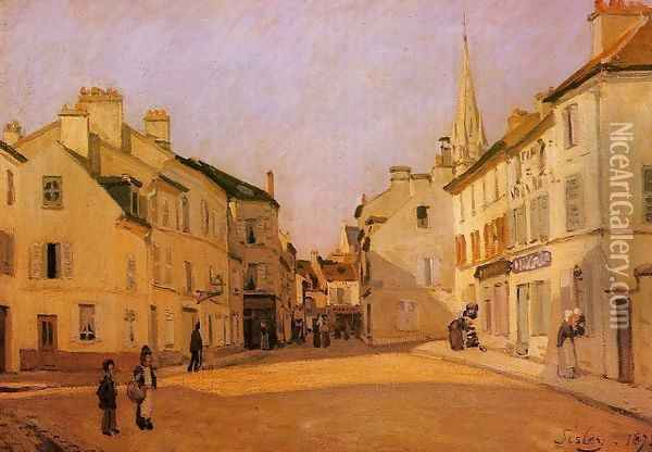 Square In Argenteuil Rue De La Chaussee Oil Painting - Alfred Sisley