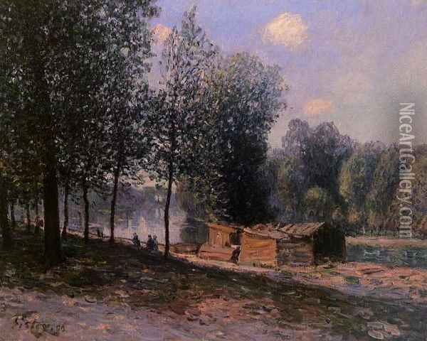 Cabins by the River Loing, Morning Oil Painting - Alfred Sisley