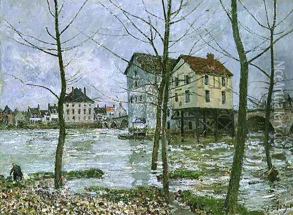 The Mills at Moret-sur-Loing, Winter, 1890 Oil Painting - Alfred Sisley