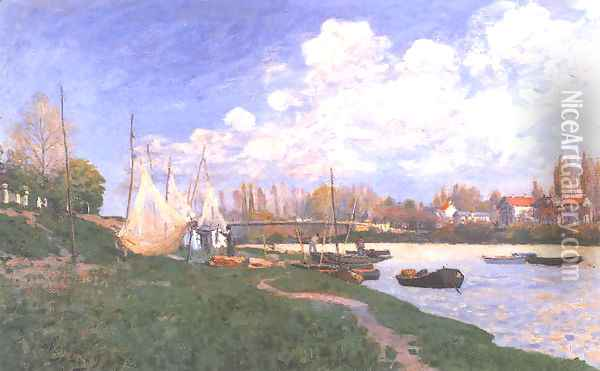 Drying Nets Oil Painting - Alfred Sisley