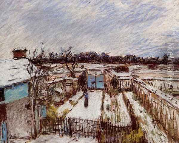 Snow Effect at Veneux Oil Painting - Alfred Sisley
