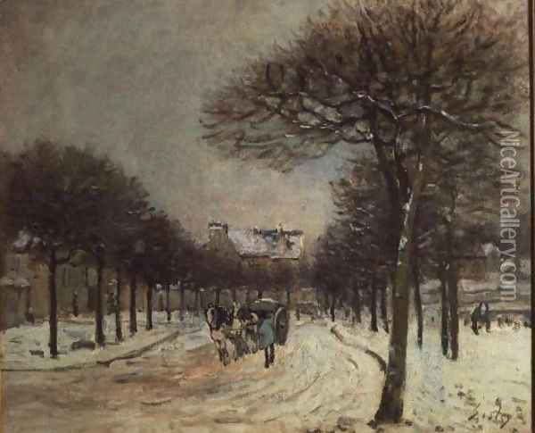 The Road to Saint-Germain at Marly, 1874-5 Oil Painting - Alfred Sisley