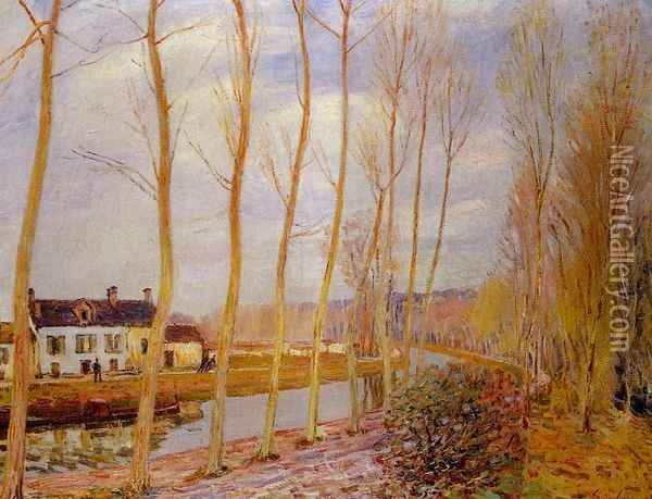 The Loing Canal at Moret Oil Painting - Alfred Sisley