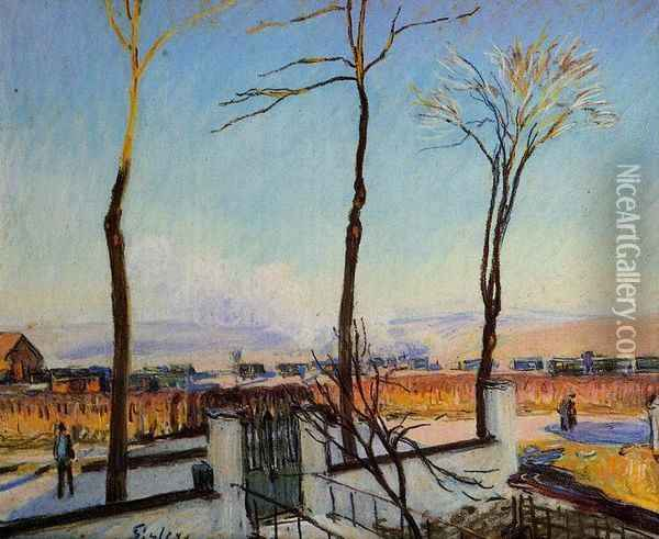 Snow Effect at Moret Oil Painting - Alfred Sisley