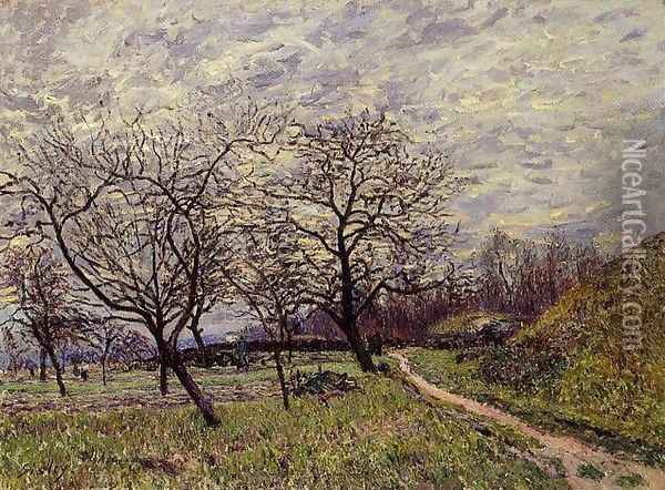Between Veneux and By - December Morning Oil Painting - Alfred Sisley