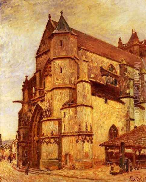 The Church at Moret, Rainy Morning Oil Painting - Alfred Sisley