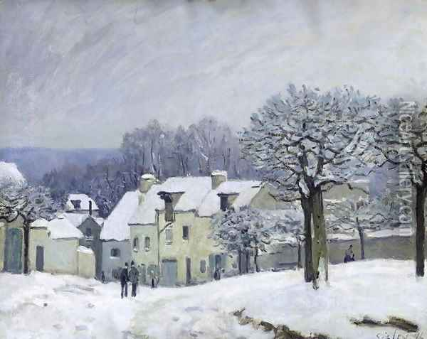 The Place du Chenil at Marly-le-Roi, Snow, 1876 Oil Painting - Alfred Sisley