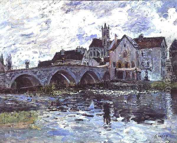 The Bridge of Moret-sur-Loing, 1887 Oil Painting - Alfred Sisley