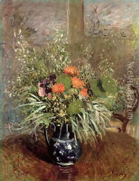 Still Life of Wild Flowers Oil Painting - Alfred Sisley