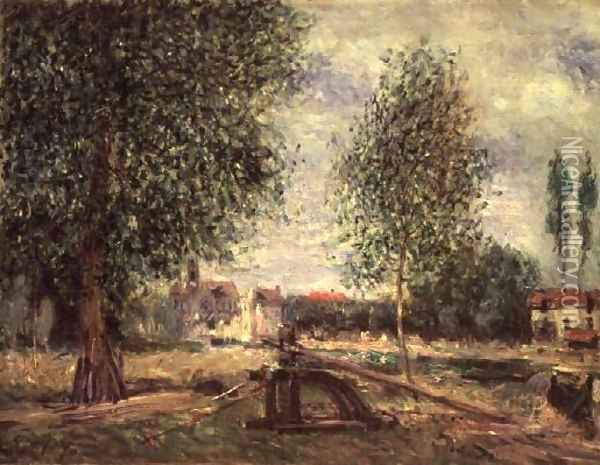 Landscape at Moret-sur-Loing Oil Painting - Alfred Sisley