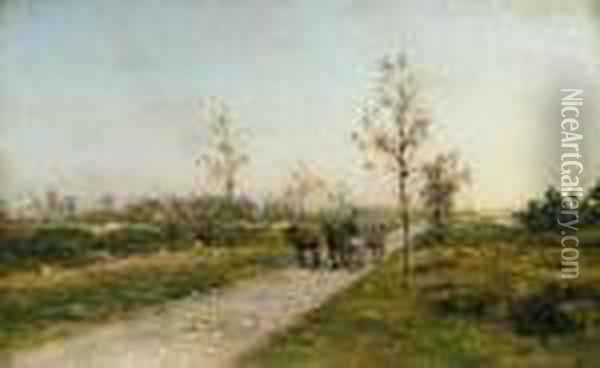 Landscape With Donkeys Oil Painting - Ivan Pavlovich Pokhitonov
