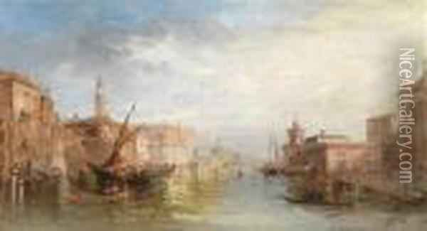 Venetian Canal Scene Oil Painting - Alfred Pollentine