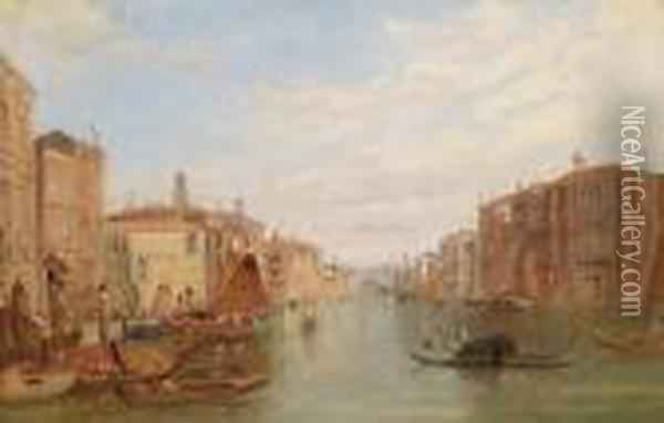 Thegrand Canal In Venice Oil Painting - Alfred Pollentine