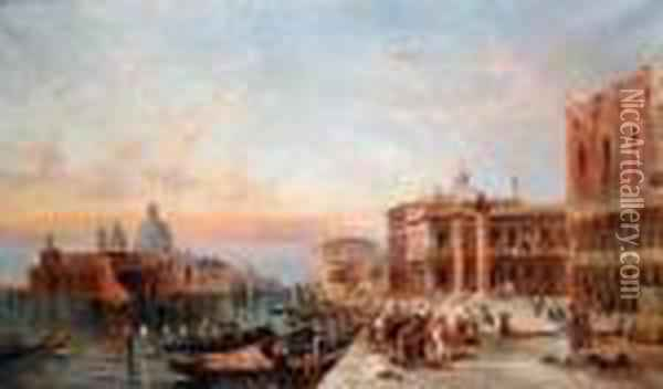 sunset On The Grand Canal, Venice, View Towards The Santa Maria Della Sallote Oil Painting - Alfred Pollentine