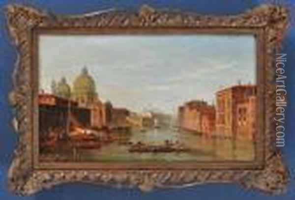 Two Views Of The Grand Canal, Venice Oil Painting - Alfred Pollentine