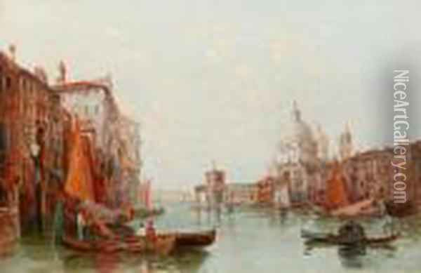 'the Palazzo Palace, Venice' And 'the Grandcanal, Venice' Oil Painting - Alfred Pollentine