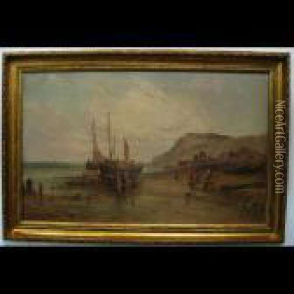 Beach Scene With Fishing Boats And Figures Oil Painting - Alfred Pollentine
