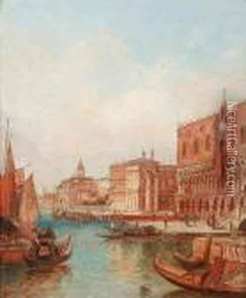 The Ducal Palace, Venice; The Giudecca Canal,venice Oil Painting - Alfred Pollentine