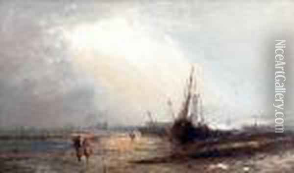 Shore Scene With Beached Fishing Boats Andfigures Oil Painting - Alfred Pollentine