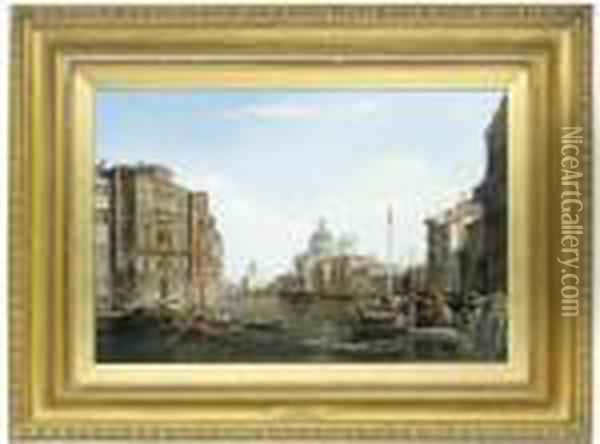 The Grand Canal With Santa Maria Della Salute, Venice Oil Painting - Alfred Pollentine