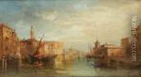 The Grand Canal With The Ducal Palace, Venice Oil Painting - Alfred Pollentine