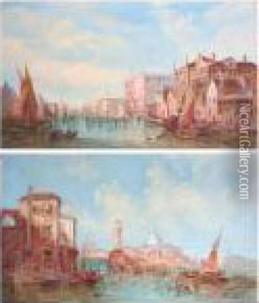 Grand Canal, Venice, Together With Another Similar, A Pair Oil Painting - Alfred Pollentine