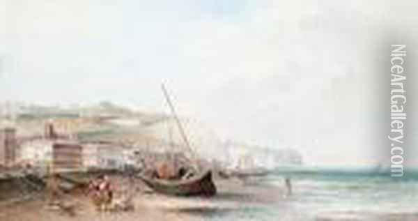 Beached Fishing Boats At Dover Oil Painting - Alfred Pollentine